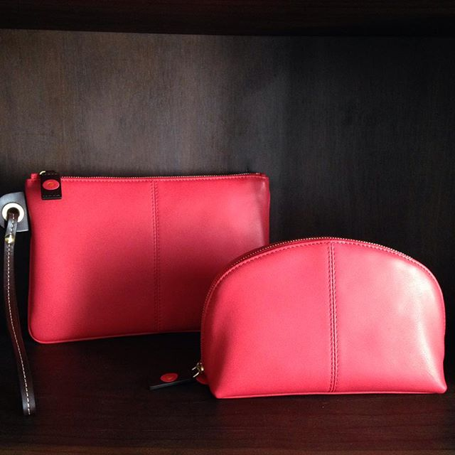 Coral Wristlet bag & Cosmetic Pouch