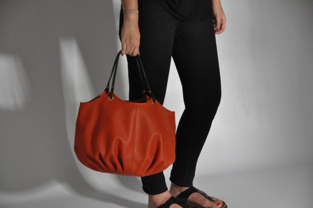 Making Off Photoshoot BenchBags The Burnt Orange Talega large orange leather shoulder bag women